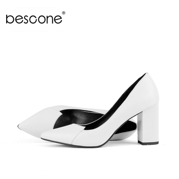BESCONE Pumps Women Special Splice High Quality Sheepskin Square Heel Elegant Office Pumps Handmade Concise Women Shoes BC594 цена 2017