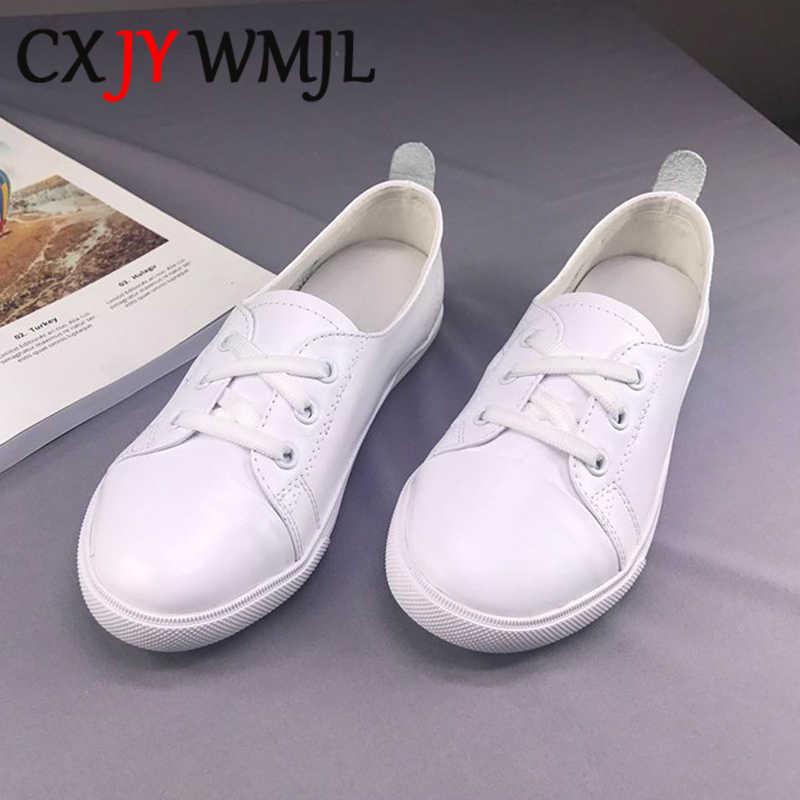 Zapatillas de deporte blancas de cuero genuino de talla grande para mujer, zapatos vulcanizados de primavera, mocasines planos con cordones para mujer, zapatos de maternidad para mujer