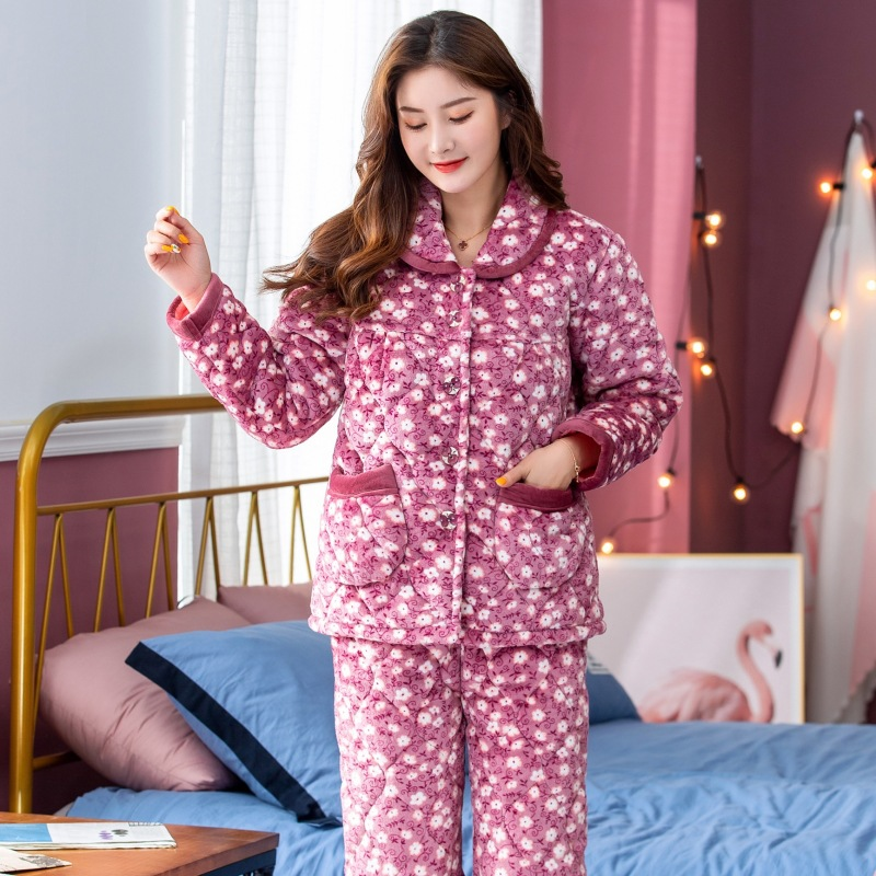 Winter Middle Aged And Elderly People Pajamas Women's Flannel Thick Quilted Mom Pajamas Coral Velvet Homewear Set 8005
