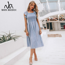 Vintage gestreiften frauen lange kleid  leinen blau elegante sommer 2019 Casual baumwolle mode weibliche strand vestidos