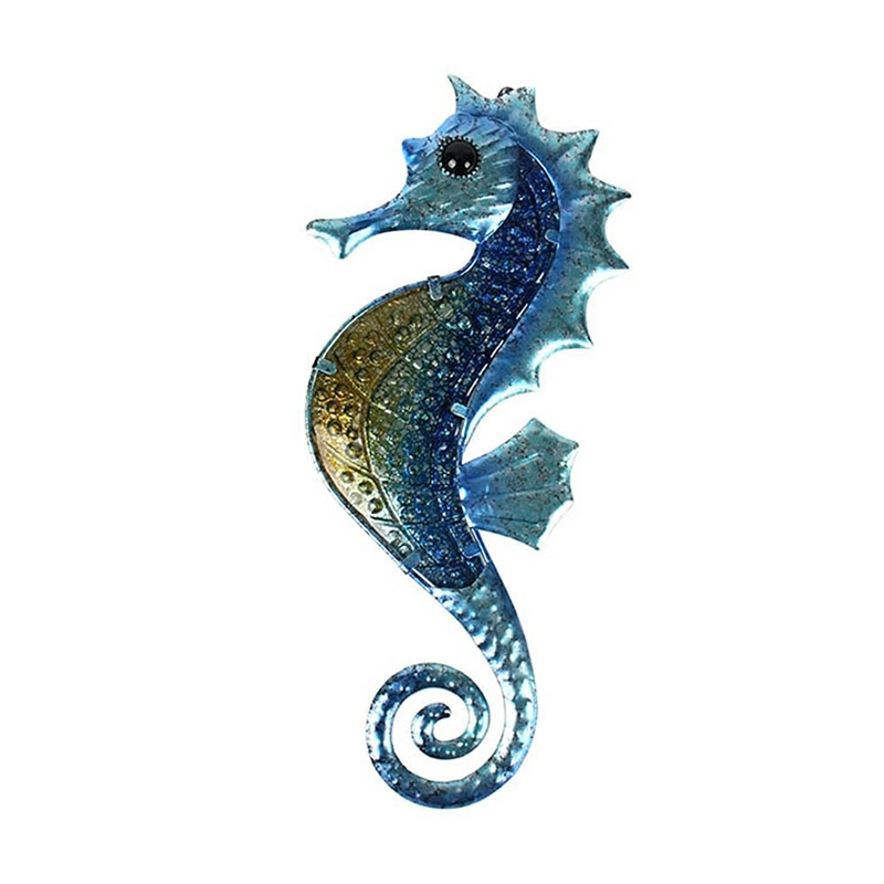 Home Decor Metal Seahorse of Wall Decor with Glass for Garden Decoration Animales Jardin Miniature Statues and Garden Sculpture 1