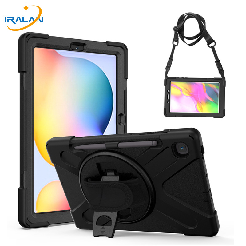 360 Rotating Shockproof Stand Case For Samsung Galaxy Tab S6 Lite 10.4 P610 SM-P615 Hybrid Armor Tablet Case With Shoulder Strap