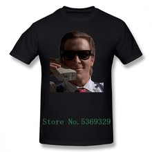 Cell T Shirt Bateman On Phone American Psycho T-Shirt 100 Percent 100% Cotton Short-Sleeve Tee Shirt Print Big Male Tshirt(China)