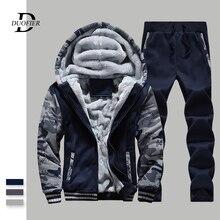 New Men Set Brand Tracksuit Thick Sweatshirt+Pants Two Piece Sets Mens Sportswear Suit Male Winter Warm Sweatsuit Camouflage