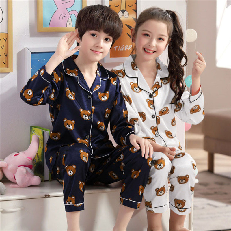2019 New Children Pajamas Boys Long-sleeved Home Service Baby Pajamas Thin Section Female Treasure Suit Children's Suit A1
