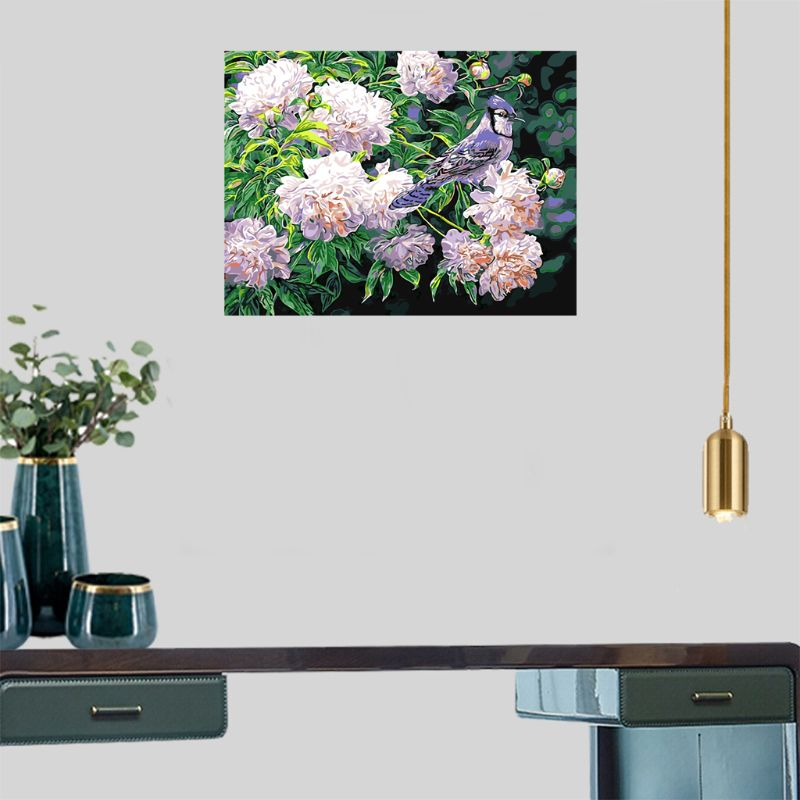Paint For Adults And Kids DIY Oil Painting Kits Pre-Printed Canvas Birdy Floral