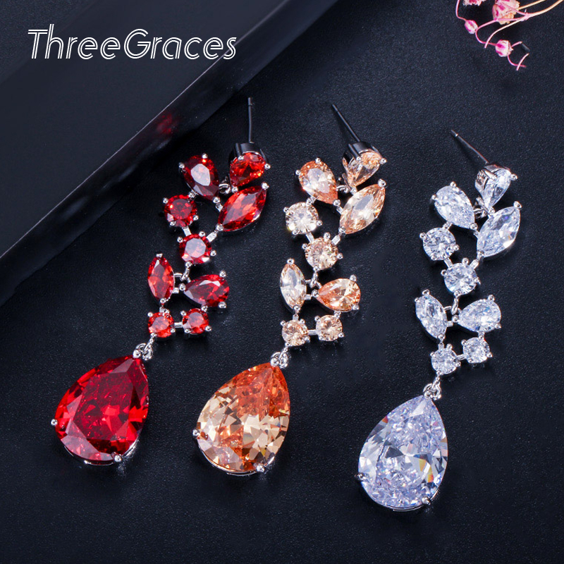 ThreeGraces Austrian Design Wedding Accessories Long Red Crystal Dangle Drop Bridal Jewelry Earrings With Cubic Zircon ER027