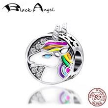 New Design 925 Sterling Silver Cute CZ Rainbow Unicorn Charms Beads Fit Women Bracelet DIY Jewelry