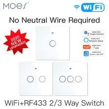 Nouveau WiFi interrupteur d'éclairage intelligent RF433 pas de fil neutre simple feu vie intelligente Tuya App contrôle fonctionne avec Alexa Google Home 220V EU