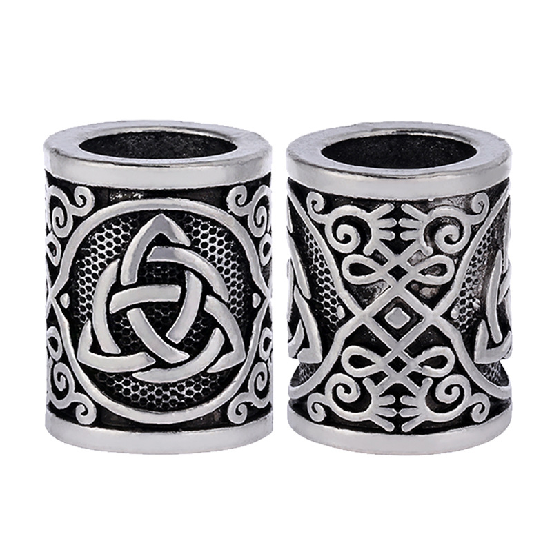 Fashion 1pcs Antique Silver Round Bead Viking Knots Runes Beads For Beard Hair Pendant Bracelets DIY Large Hole Hair Beads