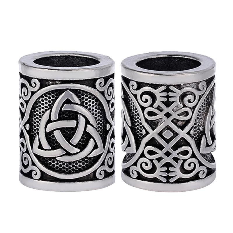 Fashion 1pcs Antique Silver Round Bead Viking Knots Runes Beads For Beard Hair Pendant Bracelets DIY Large Hole Hair Beads