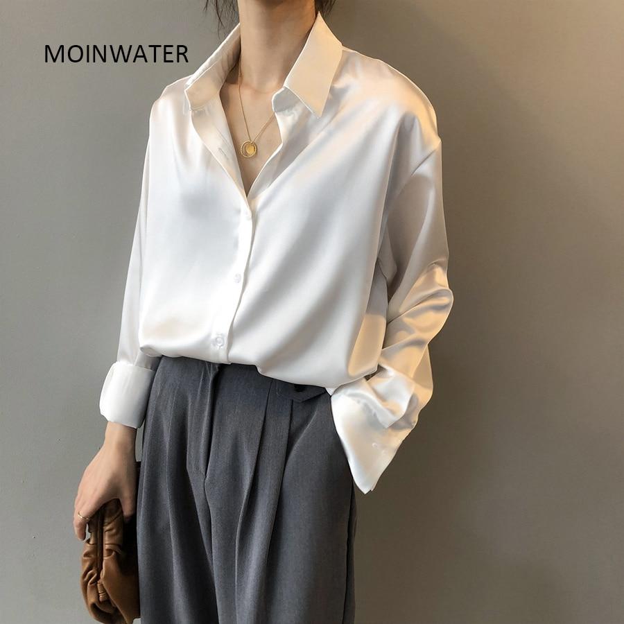 MOINWATER New Lady Blouse Shirts Women Fashion Imitate Silk White Shirts Female Office Shirt Tops MST2007