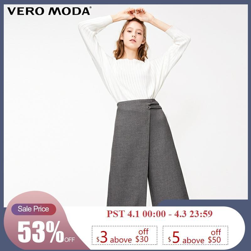 Vero Moda New Women's Decorative Leisure Waist Buckle Wide-leg Casual   Capri     Pants   | 31836J522