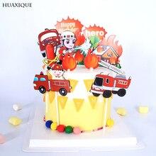Topper-Flag Cupcake Dessert-Decor Truck Fire-Ladder Happy-Brithday Party DIY Excavator