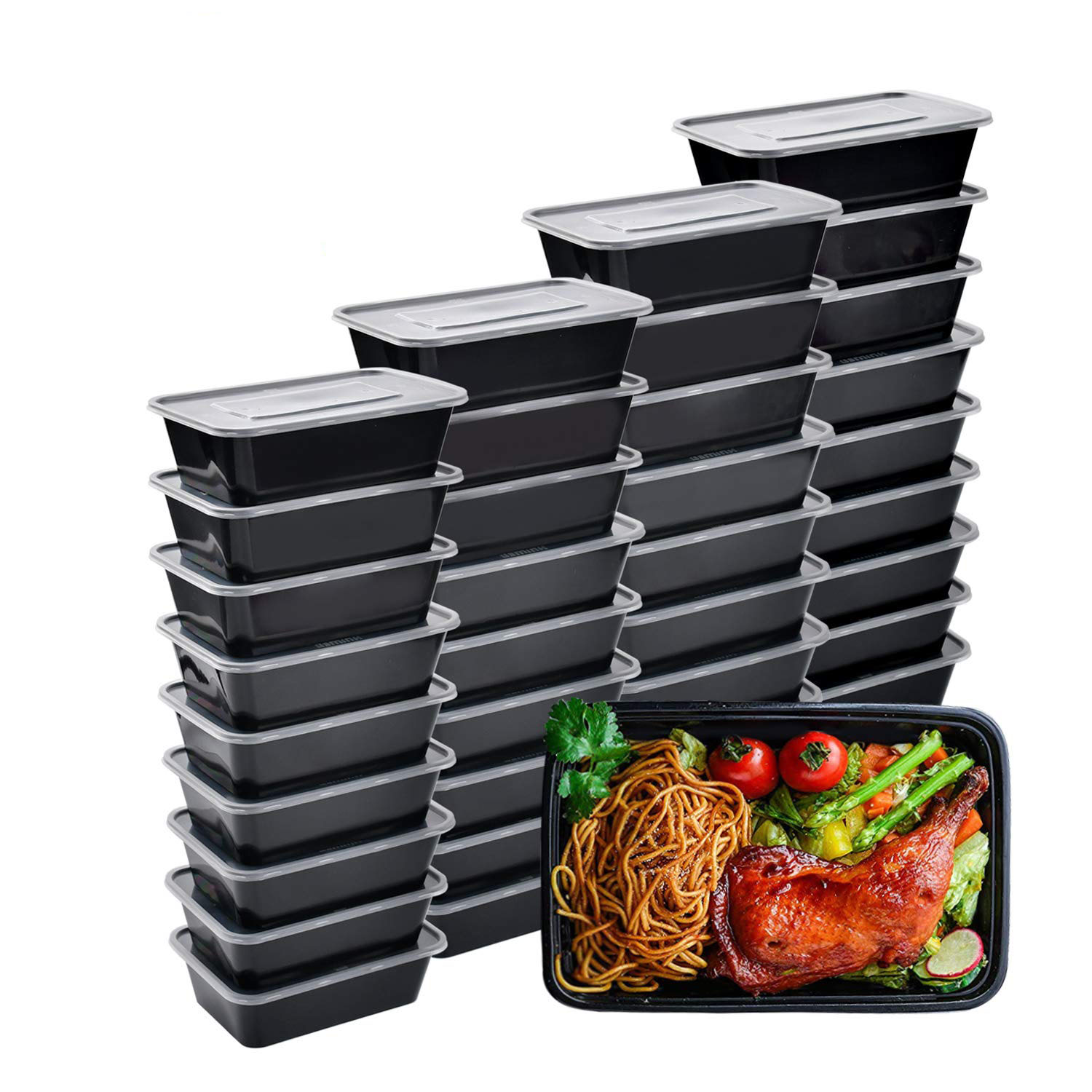 10 Pack Plastic Container Meal Prep Containers, Bento Boxes Disposable Plastic Bento Insulated Lunch Box Containers With Lid