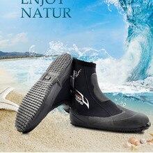 Неопреновые сапоги для подводного плавания, Вулканизация, защита от холода, высокие теплые ласты, обувь для подводной охоты, 5 мм