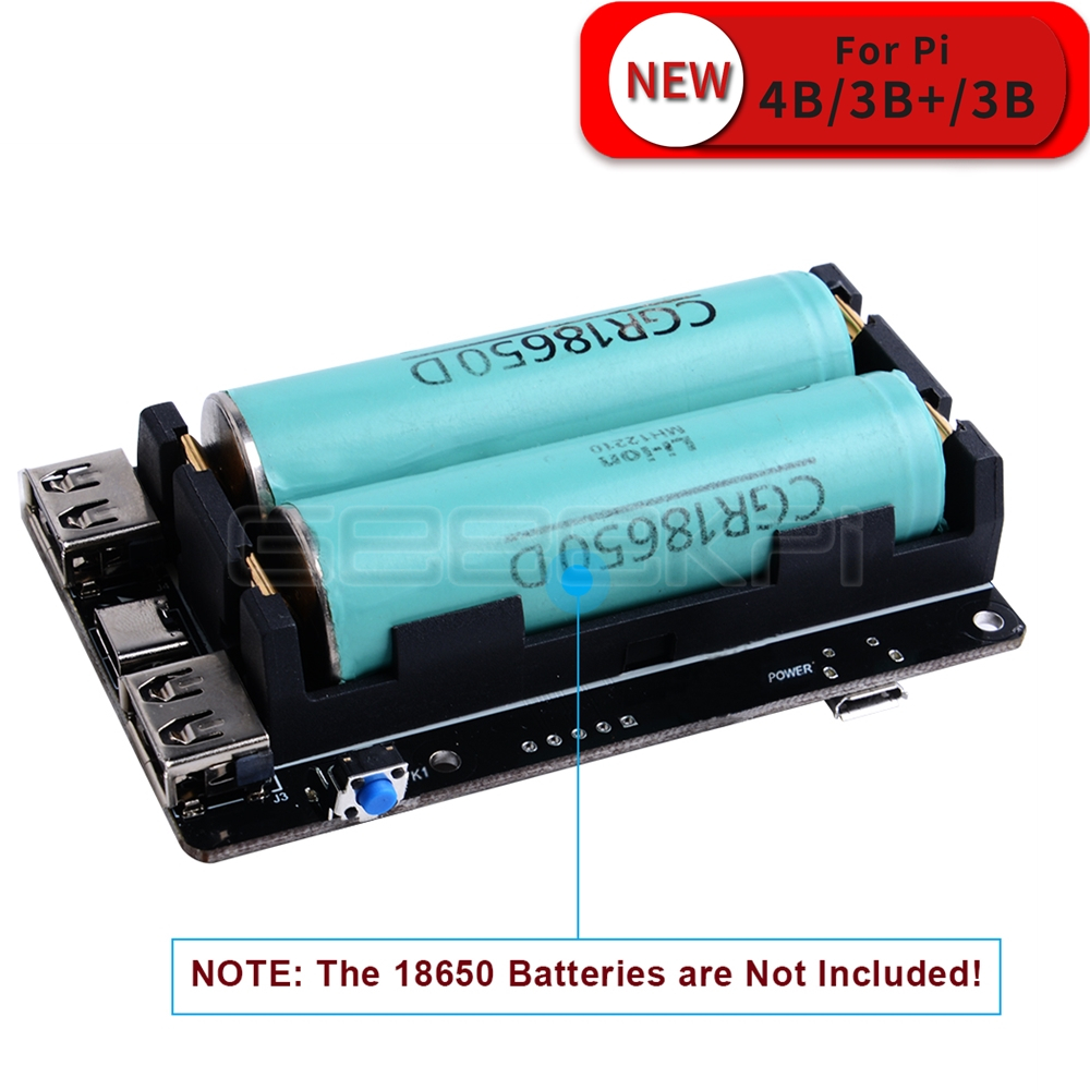 GeeekPi 18650 New UPS Pro Extended Two USBA Port Power Supply Device For Raspberry Pi 4 B / 3B+ / 3B , Not Include 18650 Battery