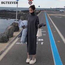 BGTEEVER Vintage Loose Turtleneck Long Sweater Dress Women  Full Sleeve Warm Pullover Knitted Female Dress 2020 Winter Vestidos