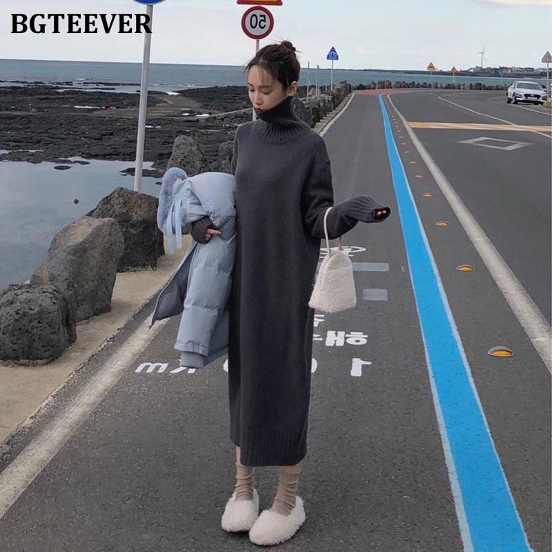 BGTEEVER, винтажное, свободное, водолазка, длинный свитер, платье для женщин, длинный рукав, теплый пуловер, вязанное, женское платье, зима 2020, Vestidos|Платья| | АлиЭкспресс