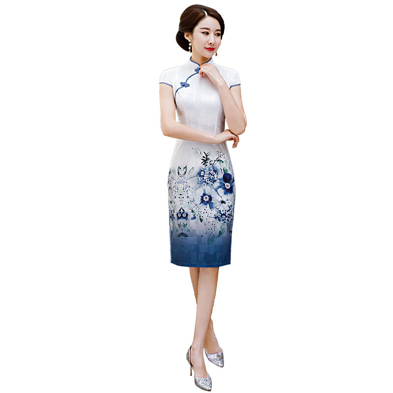 White Blue Traitional Print Women Chines Style Qipao Elegant Slim Evening Dress Rayon Short Sleeve Stage Show Cheongsam Oversize