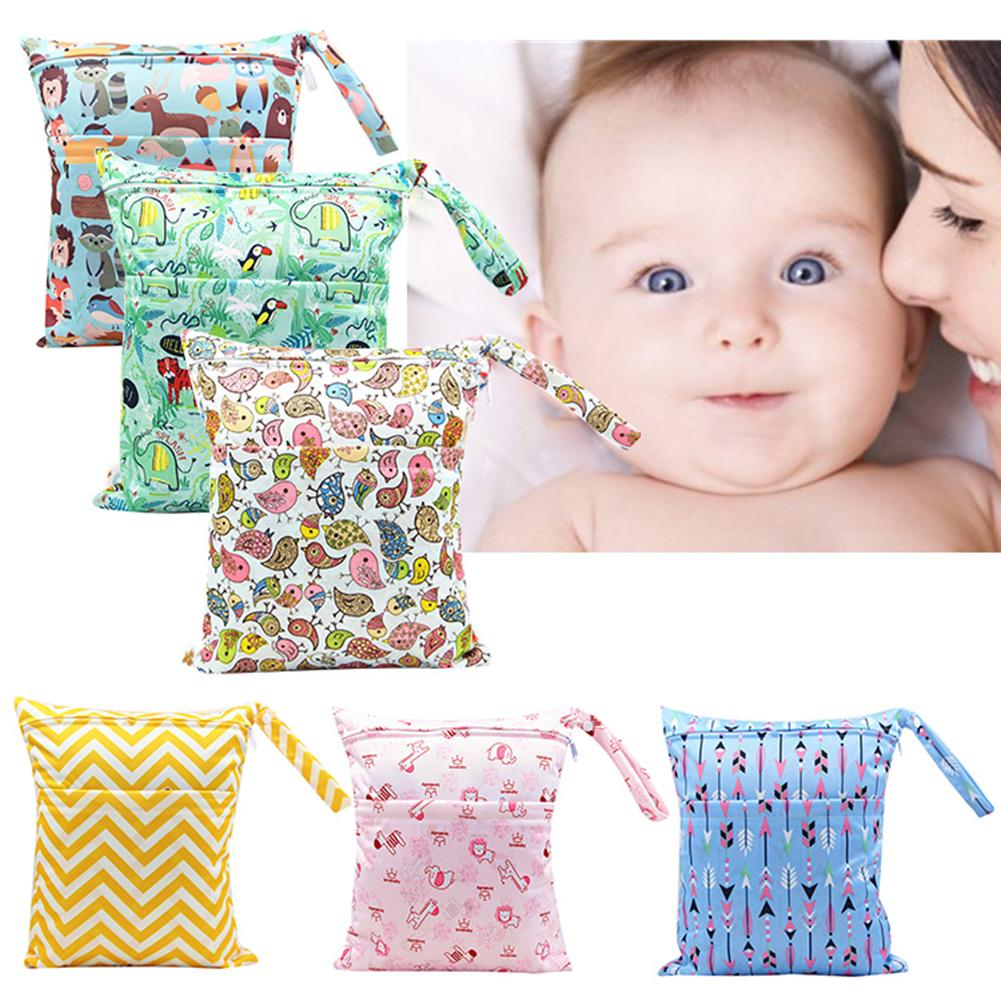 Portable Double Zipper 2 Pockets Wet Dry Baby Towel Diaper Nappy Storage Bag