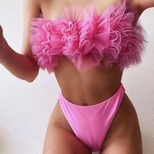Sexy  Pink Floral Bikini High Waist Swimsuit Bandeau Swimwear 2 Pieces Women Ruffle 2020 Brazilian Tanga Bikini Female Beachwear