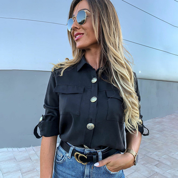 Vintage Long Sleeve Pocket Shirt For Women Autumn Tops Blouse Turn Down Collar Khaki White Black Shirt Fashion Female Blusas D25