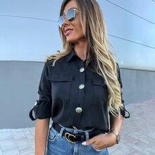 Vintage Long Sleeve Pocket Shirt For Women Autumn Tops Blouse
