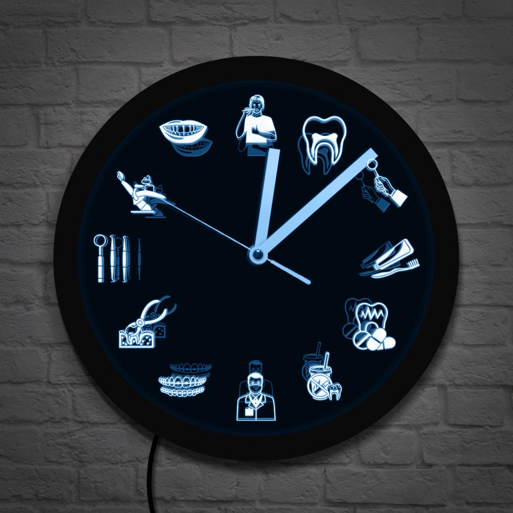 Dentist Dental Clinic Wall Clock Endodontist Sign Tooth Dental Office Hygienist LED Lighting Decor Dentist Endodontist Gift(China)