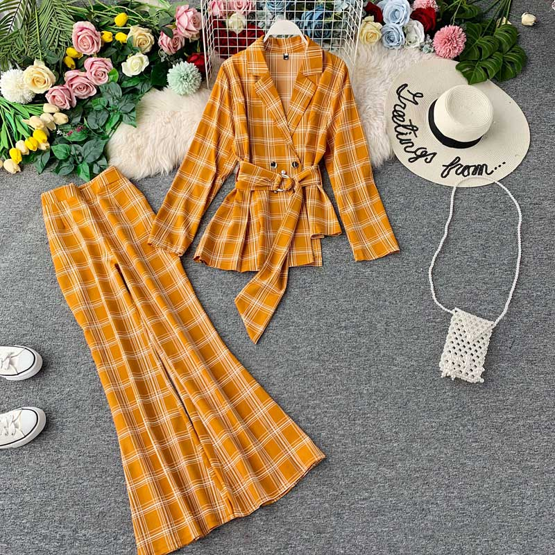 NiceMix Women Runway Stylish Designing Plaid Blazer Suits Pencil Pants European Fashion Two-piece Sets Quality Twins Sets Plaid