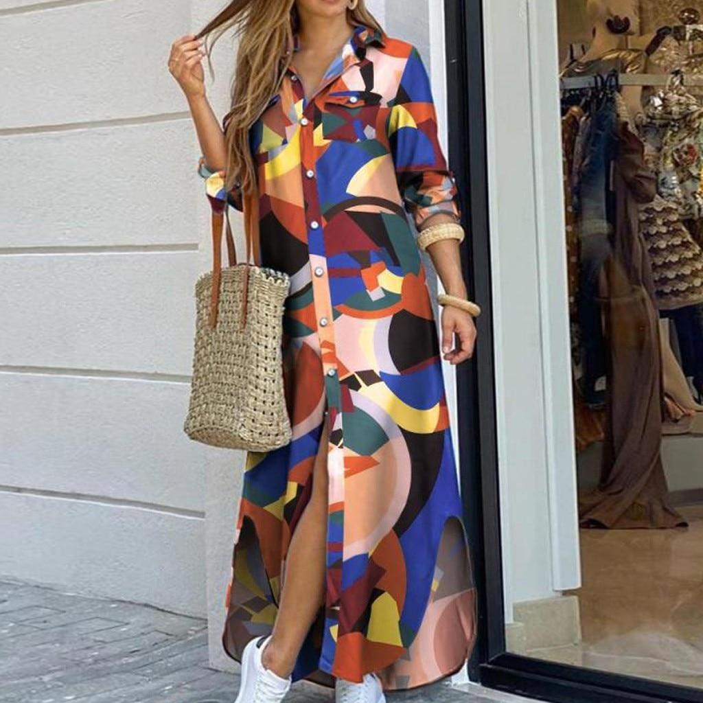 vestido de mujer Fashion Womens Casual Loose sexy Long Sleeve Pocket Button Shirt Print Dress femme