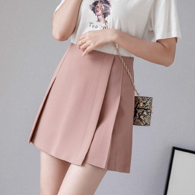 New Pleated Women Mini Skirt Casual High Waist A-line Female Short Skirt Korean Preppy Style Cute Pink Skirts 1