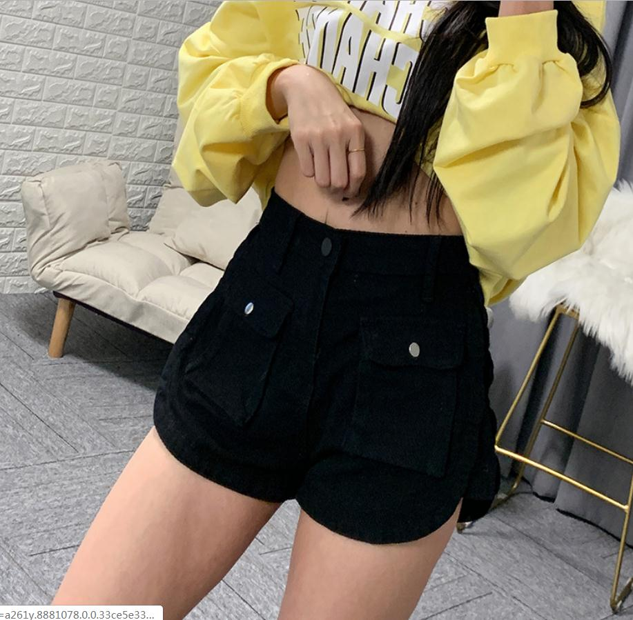 Newest S/Xl Women High Waist Wide Leg Denim Shorts With Pockets Loose Spring Summer Female Sexy Black/Apricot Jeans Short K1254