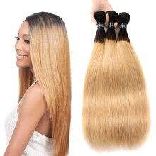Straight Hair Bundles Brazilian Human Hair 1/3/4 Bundles 1B Blond Ombre Human Hair Weave Bundles For Women Remy Hair Extensions