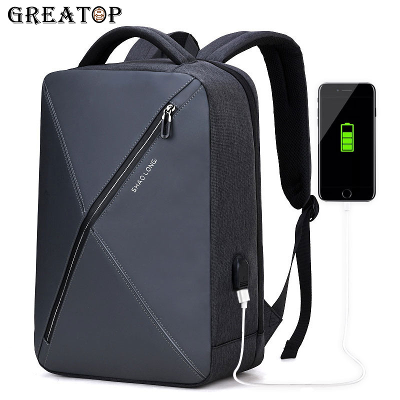 GREATOP New Design Men Backpack USB Charge 15.6inch Laptop Backpack Waterproof Multifunction Business Travel Backbags
