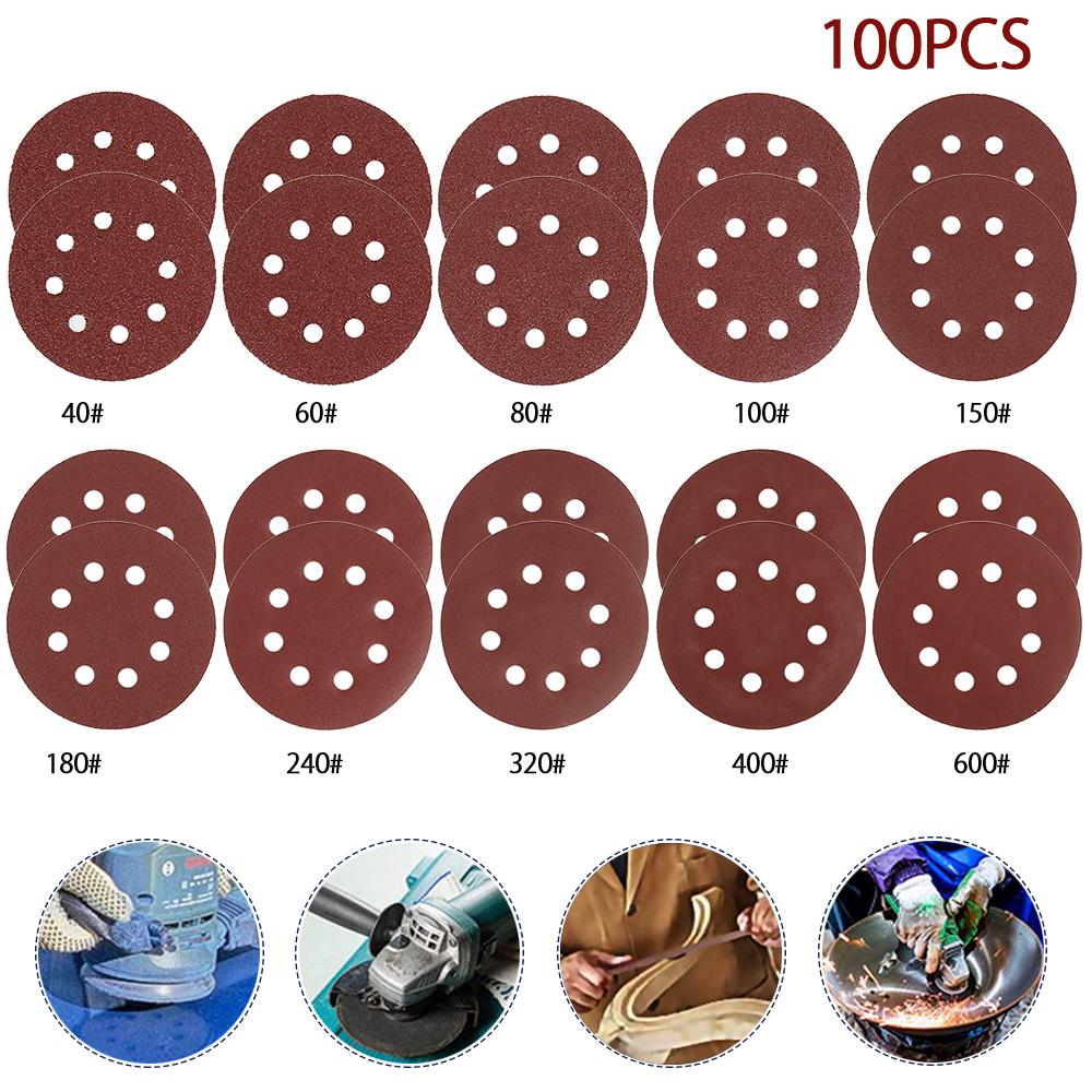 100 Uds de Papel de lija abrasivo redondo de 5 pulgadas y 125mm pulir de 40 a 600 pulgadas (Marrón)