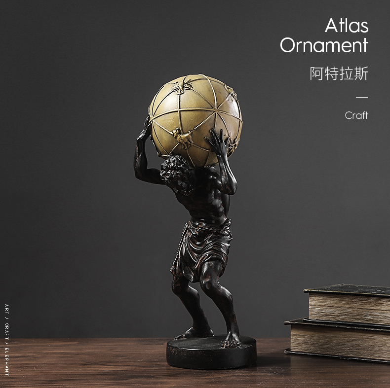 Retro Greek Mythology Character Atlas Sculpture Resin Strong Man Character Holding A Gold Ball Statue Decor Gift Craft Ornament