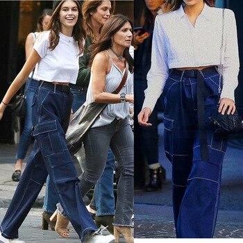 цена на Women Wide Leg Jeans High Waist Loose Straight Belted Denim Pants Boyfriend Streetwear Harajuku Big Pockets Long Cargo Trousers