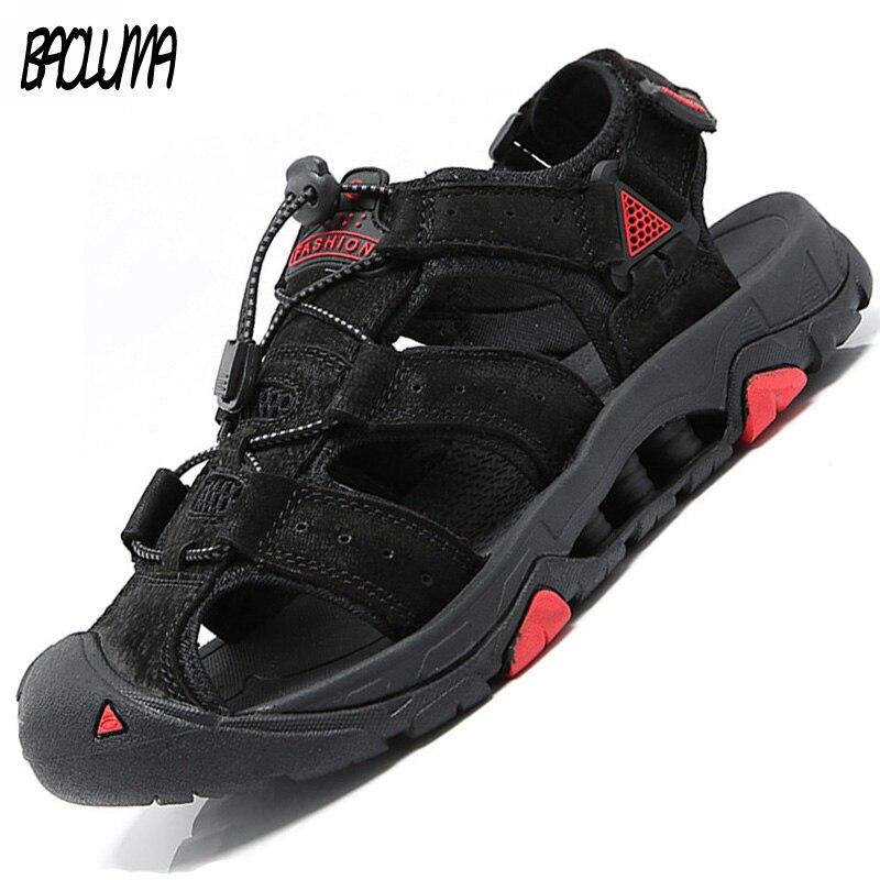 Sandalias de verano para hombres zapatos de cuero negro zapatos de goma para hombres Casual de gran tamaño gladiador sandalias hombres zapatos casuales playa suave parte inferior