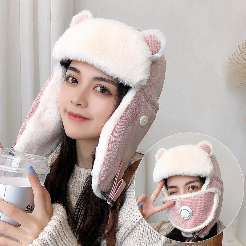 HT3376 Bomber Hat Warm Snow Ski Earflap Cap Women Knitted Winter Fur Hat with Mask Lady Cute Ear Russian Cap Female Russian Hat