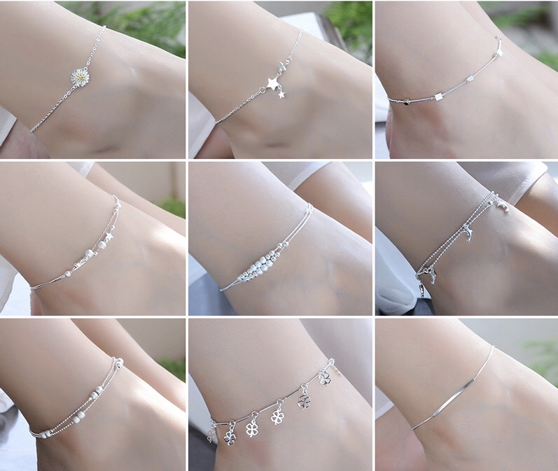 Thin 925 Silver Color Shiny Chains Anklet For Women Girls Ladies Foot Jewelry Leg Chain Bracelet Barefoot Jewelry Gift