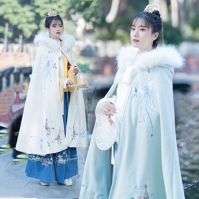Women Hanfu Cloak Flower Embroidery Autumn And Winter Overcoat Festival Rave Outfit Performance Clothing Ladies Folk Coat DC3450