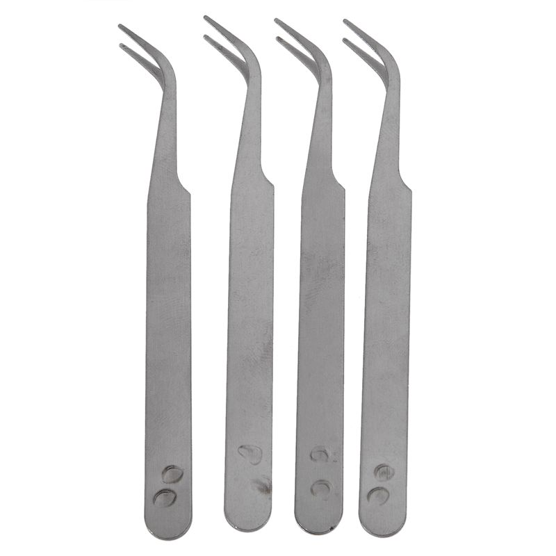 Silver Tone 5 Inch Length Metal Bent Tip Tweezers 4 Pcs