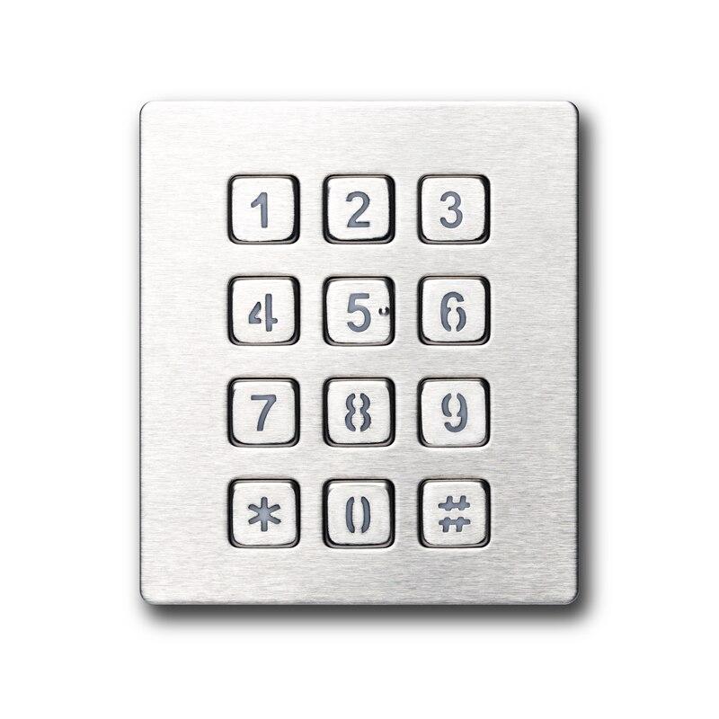 IP65 Waterproof Industrial Keyboard Security safety Rugged Metal Stainless Steel Backlit Numeric Keypad