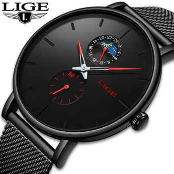 Reloje LIGE New Mens Watches Fashion Top Brand Luxury Sport Ultra-Thin Mesh Quartz Watch Men Casual Date Waterproof Watch Male dom men watches top brand luxury quartz watch casual quartz watch black leather mesh strap ultra thin fashion clock male relojes