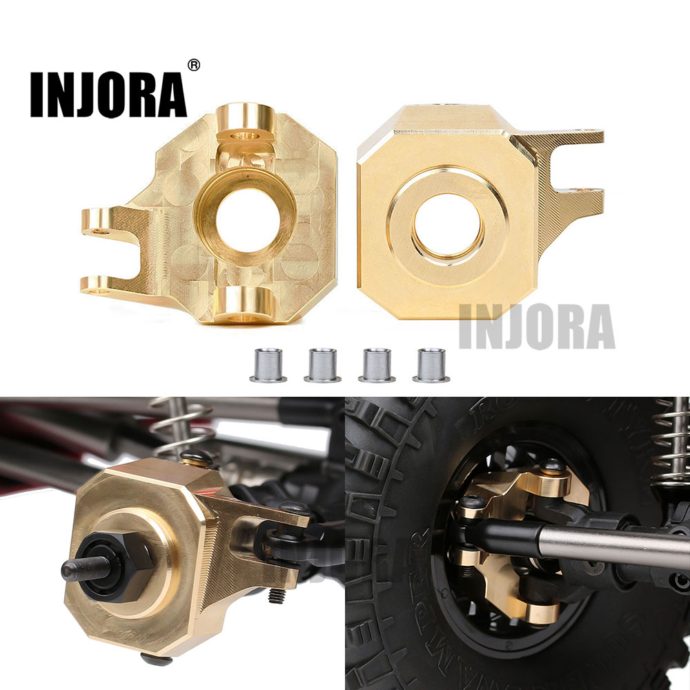 INJORA 2PCS Brass Front AR44 Steering Knuckles For 1/10 RC Crawler Axial SCX10 II 90046 Upgrade Parts