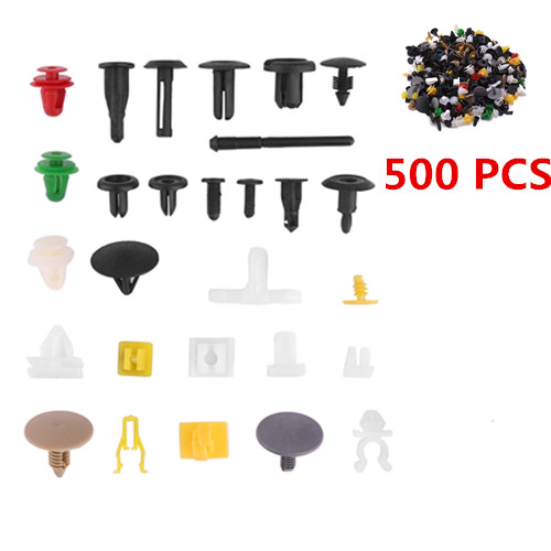 500Pcs Car Fasteners Door Panel Bumper Rivet Retainer Push Fender Fastener Clips