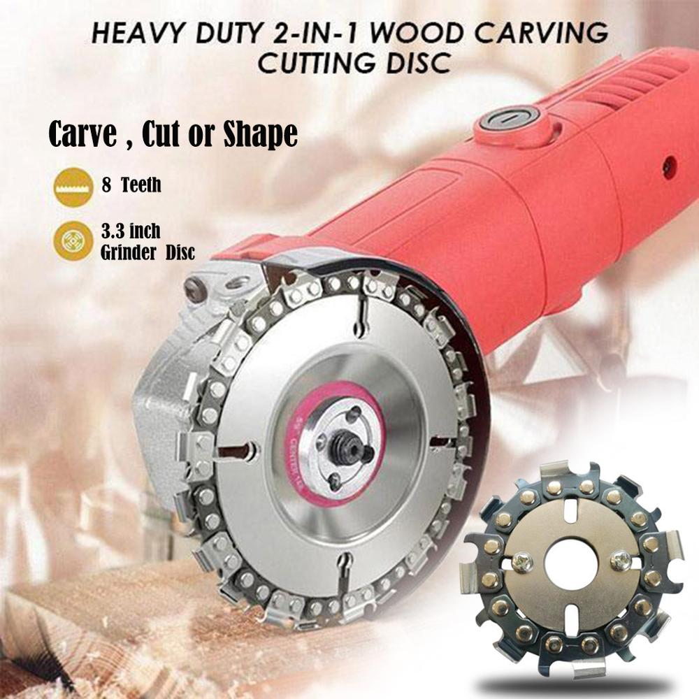 3.3 Inch 8 Teeth Grinder Chain Disc Arbor Wood Carving Disc Saw Blade Cutting Piece Wood Slotted Saw Blade