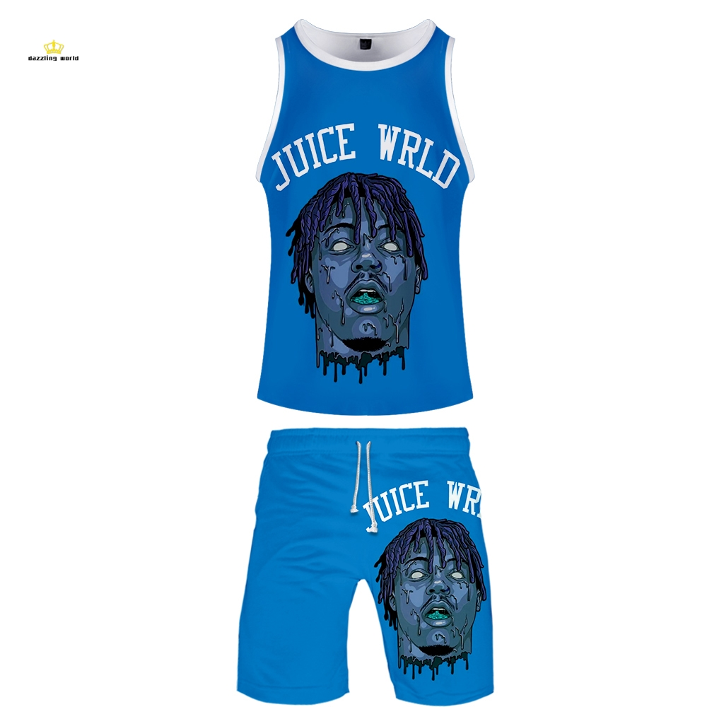 Juice Wrld Two Piece Set Tank Top & Beach Shorts New Style Fashion Hip Hop Streetwear Basketball Clothes Tracksuit Plus Size