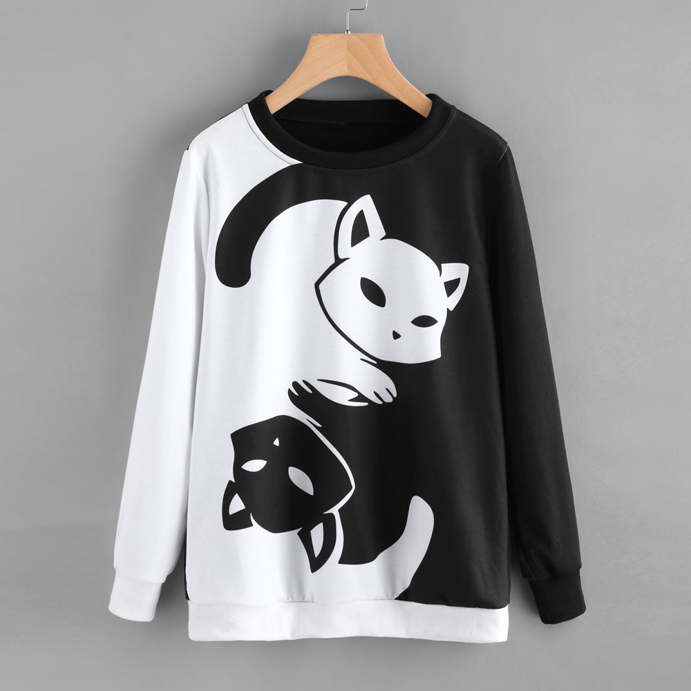 Womens Cat Printing Long Sleeve Sweatshirt Pullover Tops Blouse Black And White Cat Color Matching Ropa Kawaii